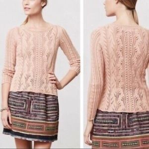 Anthropologie sparrow cable knit peach sweater